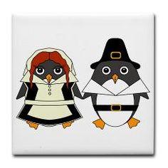 Thanksgiving, Mr Penguin, Holidays, Harvest, Pumpkins, Cute, Penguin, Corn, Autumn, Autumnal, Seasonal, Cartoon, Goldfishdreams, Turkey, Pilgrim