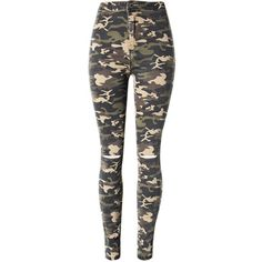 Camouflage Ripped Slim-Leg High-Rise Jean (€30) ❤ liked on Polyvore featuring jeans, pants, bottoms, calça, high waisted jeans, high waisted destroyed jeans, camo ripped jeans, camo jeans and high waisted ripped jeans