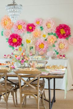 Garden Party First Birthday with the Ultimate Flower Backdrop - Garden Decor Baby Girl Birthday, First Birthday Parties, First Birthdays, Birthday Ideas, Party Kulissen, Party Ideas, Baby Shower Table Decorations, Garden Birthday, Flower Birthday