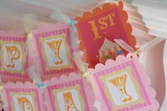 Happy Birthday Pink, Orange & Hot Pink Circus Carnival Theme Banner - Purple Pink Turquoise Also Avail - Ask About Our Party Pack Specials on Etsy, $28.00