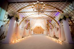 Wooden archway aisle