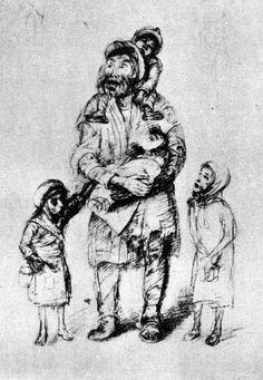 Roman Kramsztyk, Vieux juif avec enfants, vers 1941.