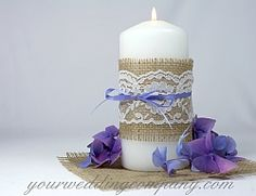 Wedding Centerpiece with Burlap and Ribbon Accents