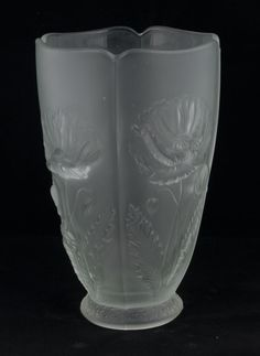 Lalique design frosted glass vase with scalloped top with leaf and floral decoration in relief, 9.5
