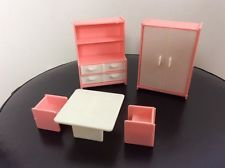 Vintage Dolls House Bedroom Furniture Plastic Pink / white By Jean W Germany
