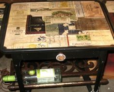 save wine labels and mod podge them to the top of an old table - YES!