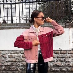 Sundays are my favourite. This patchwork pink and red denim from @missympire is my kinda jacket linked it on my story