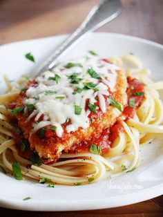 Baked Chicken Parmesan.You can substitute olive oil or Greek yogurt for the butter if you wish. This will give you less saturated fat.  Pasta is not included in the calorie count, from Skinnytaste