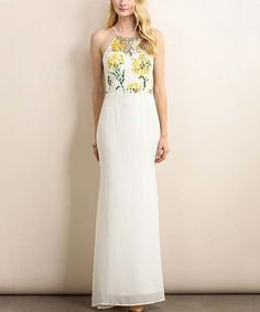 This Cream & Yellow Floral Sequin-Accent Maxi Dress is perfect! #zulilyfinds