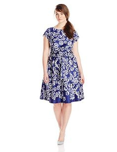 Anne Klein Women's Plus-Size Printed Cotton Boat Neck Sateen Fit and Flare Dress, Ultramarine Combo, 14