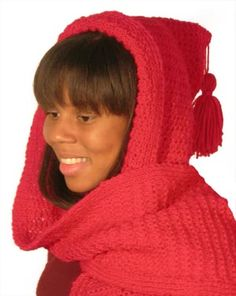This is a super cute free hooded scarf easy knitting level free knitting pattern bk4k 0701008 little red riding hoods hooded scarf lion brand yarn dt1010fo