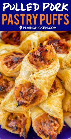 Pulled Pork Pastry Puffs - only 4 ingredients!Smoky pulled pork tossed with BBQ sauce and cheese then baked in puff pastry. Pulled Pork Pastry Puffs (crescents, instead of puff pastry, would be good, too) Image may contain: food Puff Recipe, Puff Pastry Recipes, Savory Pastry, Weight Watchers Desserts, Great Recipes, Favorite Recipes, Recipe Ideas, Pork Recipes For Dinner, Pulled Pork Recipes