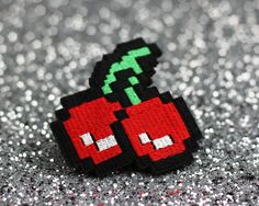 Items similar to Pixel Cherries Hair Clip, Gaming Barrette, Retro Gamers, Red, Green and White on Etsy Red Hair Clips, Red Hair Accessories, Cherry Hair, Retro Gamer, Geek Girls, Hair Barrettes, Red Green, Green Hair, Cherries
