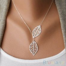 Simple 2 Leaves Choker Necklace  Collar Statement  Necklace Women Jewelry 1OU5(China (Mainland))