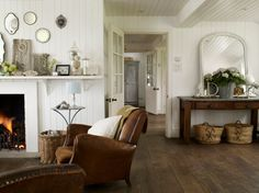 Foster House/ these floors are gorgeous. Definitely will be in the new house Home Living Room, Living Spaces, Foster House, Muebles Living, Maine House, House 2, Farm House, My New Room, White Walls