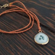 Solar Quartz Necklace - 14k Gold Fill & Silk Macrame - One of a Kind by CatMHorn on Etsy
