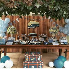 Ideas For Birthday Party Boy Cars Baby Shower Birthday Themes For Adults, Boys 1st Birthday Party Ideas, 90th Birthday Parties, First Birthday Decorations, Boho Baby Shower, Baby Shower Themes, Vintage Car Party, Construction Theme Party, Race Car Party