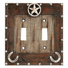 star horseshoe double switch plate western horse decor - Horse Decor