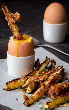 Pair these parmesan-crusted zucchini fries with soft-boiled eggs.