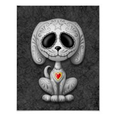 This adorable grey puppy design is decorated with swirls and dot patterns. Delicate flower pedals circle the pure black eyes in the tradition of the Day of the Dead sugar skulls. The little dog is sitting down, looking forward with its tail waving in the background. The over sized head sits on a tiny body which creates a playful, cartoon like appearance. A five point star sits in the middle of the puppy's forehead while a bright red and yellow heart appears in the center of the chest. This…