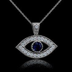 Designer Diamond Sapphire Evil Eye Pendant Necklace 14K White