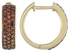 Stratify(Tm) 1.56ctw Round Vermelho Garnet(Tm) 18k Yellow Gold Over Sterling Silver Hoop Earrings