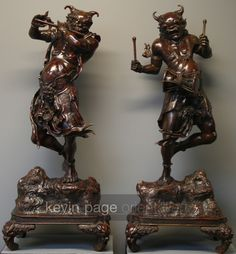 A pair of large Japanses bronzes of Raijin and Fujin (Raiden and Fudin) (Japan)