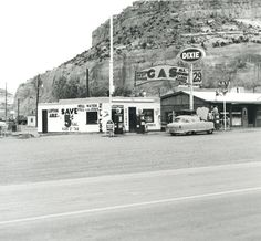 Ed Ruscha, Dixie, Lupton, Arizona, 1962 (printed Photograph: Loan courtesy the artist/The Autry. Old Route 66, Route 66 Road Trip, Historic Route 66, Old Gas Stations, Filling Station, Bronze, Easy Rider, Vintage Photographs, Arizona