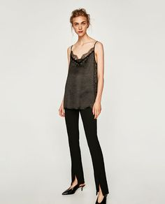 ZARA - COLLECTION AW/17 - STUDDED LACE-TRIMMED TOP