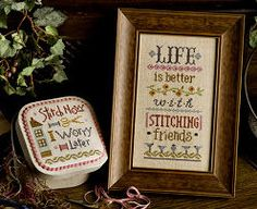 Life Is Better With Stitching Friends Boxer Kit INCLUDES fabric buttons  Bonus : Lizzie Kate cross stitch patterns thecottageneedle by thecottageneedle