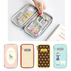 Pattern Folding Pen Pencil Case Makeup Zipper Pouch Multipurpose -iconic