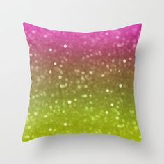Pink And Yellow Glimmer Throw Pillow by KCavender Designs - $20.00