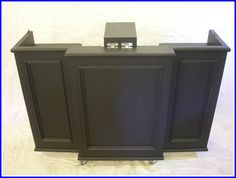 A portable DJ booth designed for the hotel, restaurant and banquet industry. This booth folds compactly into itself to be easily stored when the event… Farmhouse Living Room Furniture, Living Room Chairs, Dj Table, Dachshund Funny, Dj Booth, Interior Trim, Wedding Dj, Wedding Stuff, Tv Cabinets