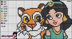 Princess Jasmine - Aladdin pattern by Aldray Ferreira Cross Stitch Letters, Just Cross Stitch, Cross Stitch Baby, Disney Stitch, Disney Princess Babies, Baby Disney, Baby Princess, Cross Stitching, Cross Stitch Embroidery