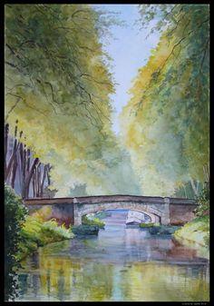 148-Le canal du midi red Watercolor Landscape, Watercolor And Ink, Watercolor Paintings, Canvas Painting Projects, Canal Du Midi, Vintage Landscape, Science Art, Art Plastique, Toulouse