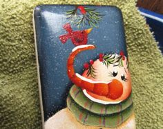 Hand Painted Snowman and Cardinal Soap