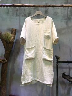 Simple Design Pockets Decorations Loose T-shirt Dress Plain Linen Clothing #tshirt #linen #dress #white #amazing #loose #chic #amazing #summer #shirt