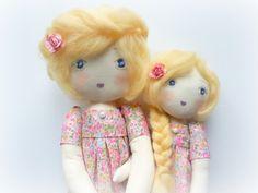 poupée de chiffon tissu liberty rose mère fille Annette et Héléna : Jeux, jouets par betty-et-berenice