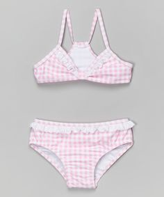 Jessica Simpson Collection Pink Gingham Ruffle Seersucker Bikini - Toddler & Girls by Jessica Simpson Collection