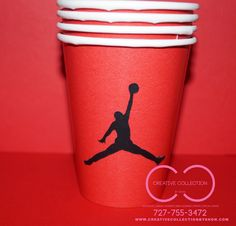 Jumpman Inspired Drinking Cups by ccbyshon on Etsy Boy 16th Birthday, 13th Birthday Parties, Baby Birthday, Birthday Gifts, Jordan 23, Jordan Cake, Baby Shower Items, Baby Shower Favors, Basketball Party