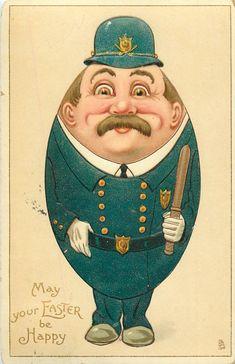 vintage Easter card egg policeman