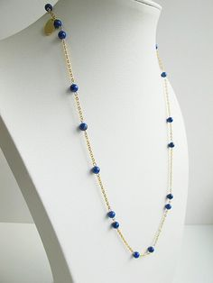 Natural lapis lazuli chain necklace, deep blue, 24 K gold plated chain, summer jewelry, ,FREE Shipping #newarrival #highquality #affordable #freeshipping #bead #beads #gem #gems #gemstone #gemstones #jewelry #jewellery #jewelrymaking #jewelrysupplies #jewelrysupply #etsy #farragem #design #designer #handcrafted #handmade #ring #necklace #earrings #bracelet #pendant