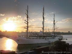 Sea Cloud II Yacht coming into port at Santo Domingo