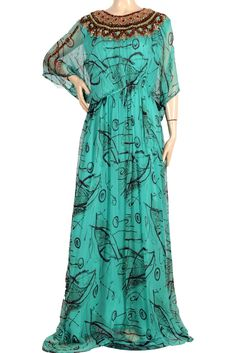 "aljalabiya.com: ""Bethany"" Chiffon patterned kaftan with hand embroidery,  stones, and inner belt (N-13636-11) $159.00"