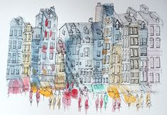 Water colour and pen of the port view Honfleur, France. Created by Admiral Salt