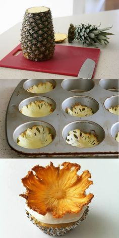Make a decorative cupcake with the bottom of a pineapple.. who knew?