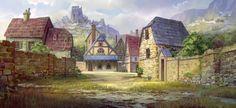 Village + castle on hill farmland mountains forest Fatecraft rural town tile by TylerEdlinArt on DeviantArt Fantasy Village, Fantasy Town, Fantasy Map, Medieval Fantasy, Fantasy World, Fantasy Art Landscapes, Fantasy Landscape, Rwby, Design Spartan
