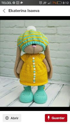No photo description available. Crochet Doll Pattern, Crochet Toys Patterns, Amigurumi Patterns, Stuffed Toys Patterns, Doll Patterns, Knitted Dolls, Crochet Dolls, Crochet Hats, Crochet Rabbit