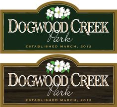 Custom signage design for Dogwood Creek Park. Design submission. www.customoutdoorwoodensigns.com