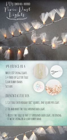String Light DIY ideas for Cool Home Decor | Tinkerbell Inspired Pixie Dust Lights are Fun for Teens Room, Dorm, Apartment or Home | http://diyprojectsforteens.com/diy-string-light-ideas/  https://www.djpeter.co.za #DIYHomeDecorForTeens